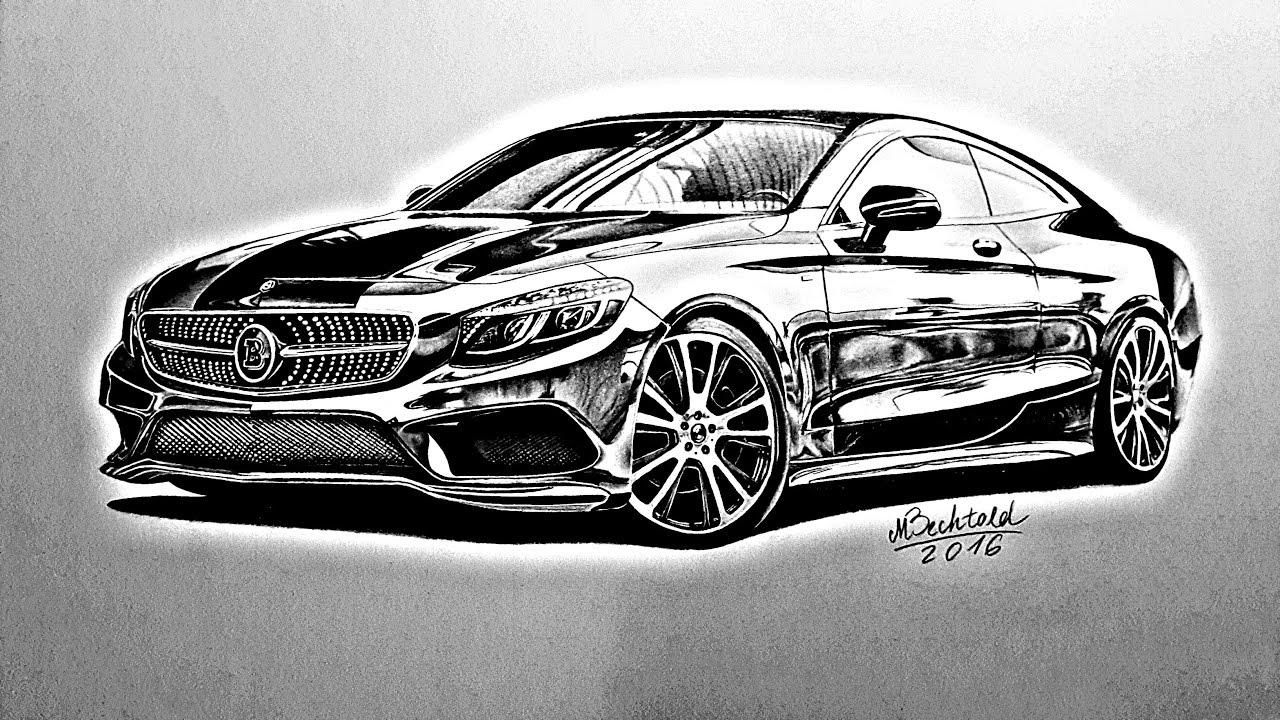 Mercedes Benz S Coupe S63 Amg Realistic Pencil Speed Drawing Video Tutorial Zeichnung