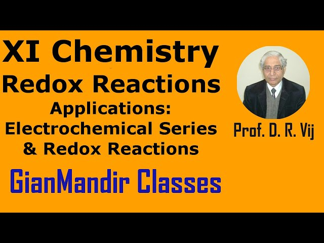 XI Chemistry - Redox Reactions - Application of Electrochemical Series & Redox Reaction by Ruchi Mam