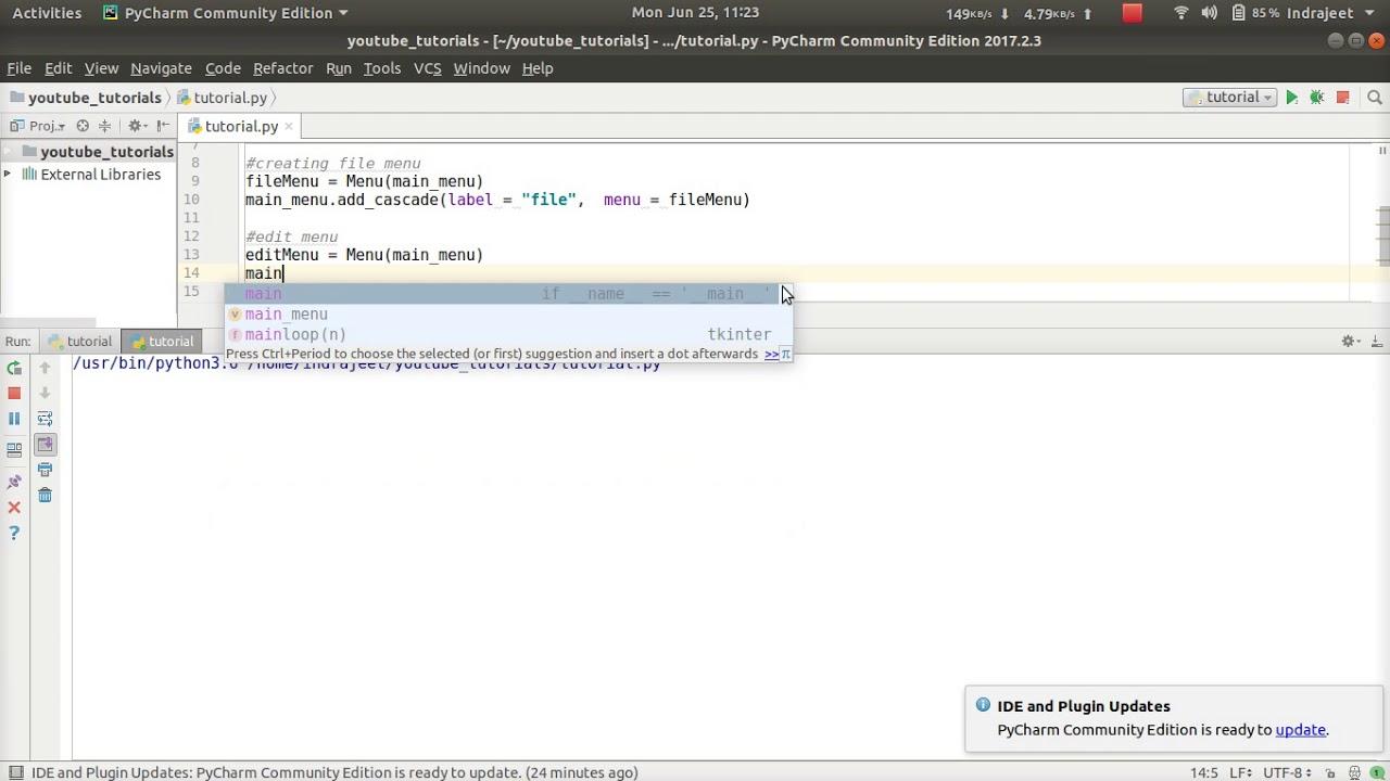 Python GUI Tutorial - 9 - creating drop down menus