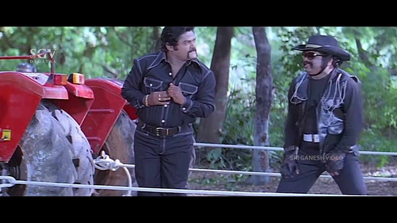 Jaggesh Comes in Dr. Rajkumar Get Up to Save Heroine | Comedy Scene | Tennis Krishna | Patela Movie