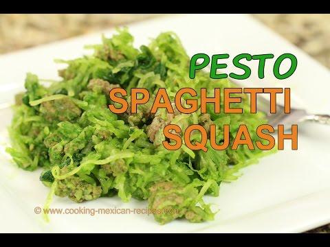 Healthy Spaghetti Squash Recipe With Pesto, Ground Beef - Rockin Robin Cooks