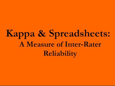 Kappa And Spreadsheets A Measure Of Inter Rater Agreement Youtube