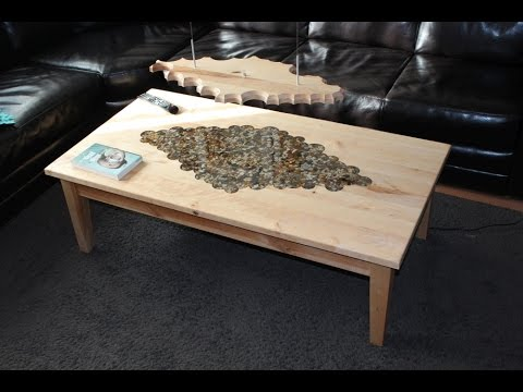 Table With Epoxy Resin Inlay And Matching Lamp Youtube