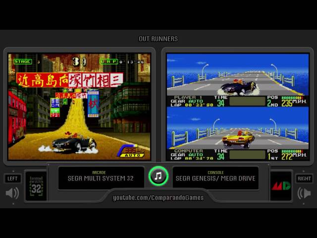 OutRunners (Arcade vs Sega Genesis) Side by Side Comparison (Arcade vs Mega Drive)