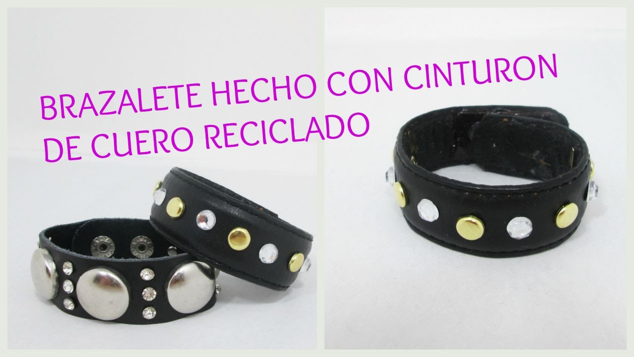 como hacer brazalete pulsera de cuero hecha con cinturon reciclado youtube