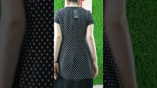 Đầm suông chấm bi phối dập ly chân váy - C3969