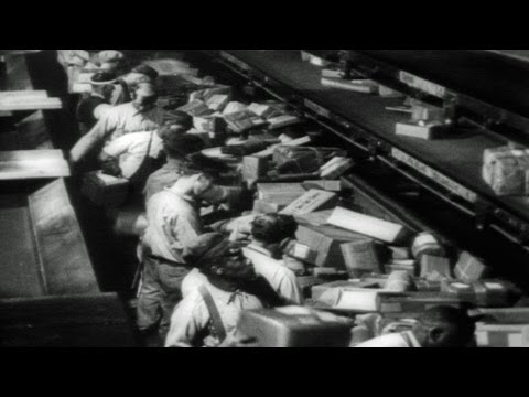 HD Stock Footage U.S. Mail Postal Terminal Chicago 1930