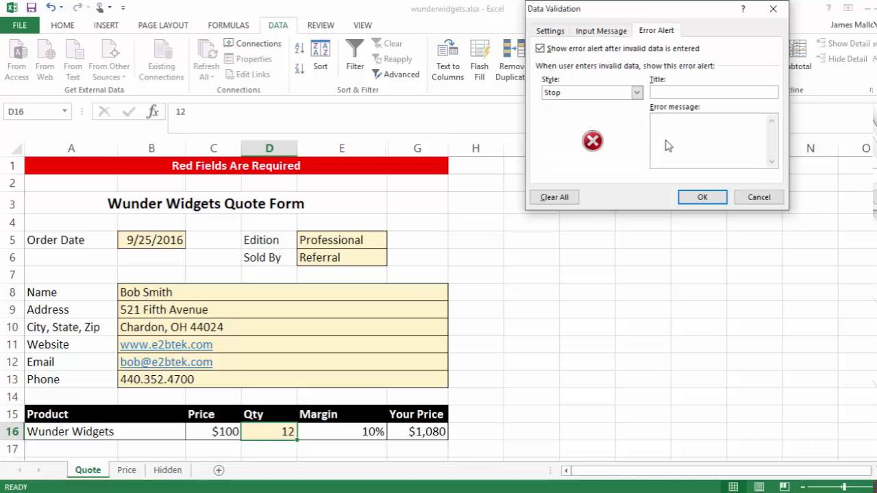 Quote Form Excel Quote Form  Youtube