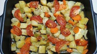 Изумительно вкусные овощи запечённые в духовке! Простой рецепт!