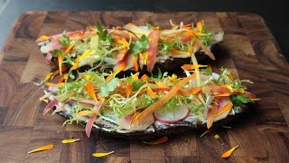 Spring Vegetable Tartine with White Anchovies - Open-faced  Vegetable Sandwich with Boquerones
