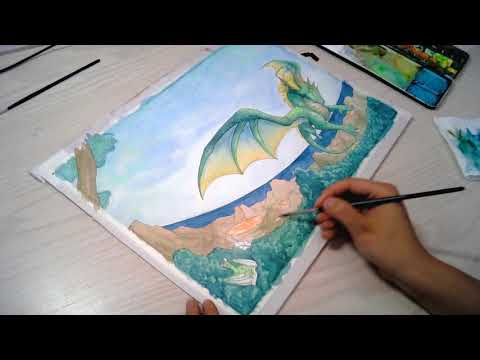 Faszinierende Drachenwelt Teil 2 - Cover Speedpaint *Aquarell Coloration*