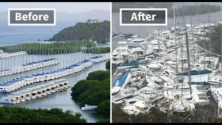 Hurricane Irma before and after ,then and now, Barbuda, Saint Martin, Florida, Virgin Islands, Keys