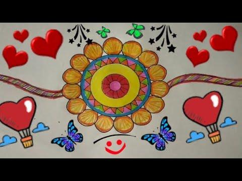 How to Make RAKHI Coloring Drawing Ideas Step By Step | RAKSHA BANDHAN Drawing for Competition