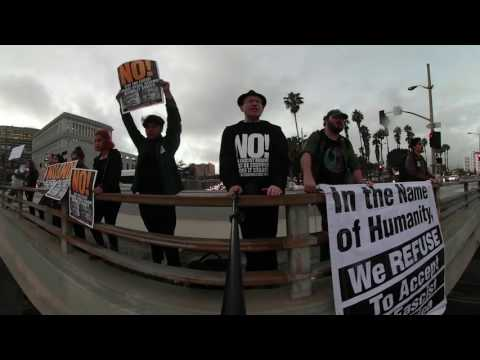 RefuseFascismLA: LA Freeway Overpass 1/19 #3