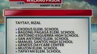 NTG: Alamin ang mga eskwelahan na walang pasok ngayong araw (Aug. 14, 2012)