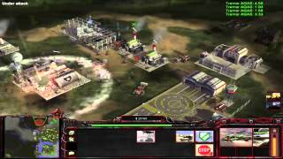 C&C Generals Rise of the Reds 1.7 mod - Skirmish / Mountain guns - Russia, GLA Vs USA [HD]