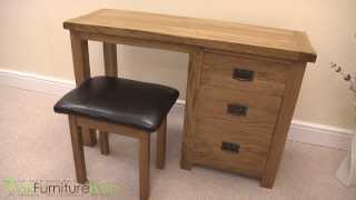 Cotswold Rustic Solid Oak Dressing Table & Stool Set