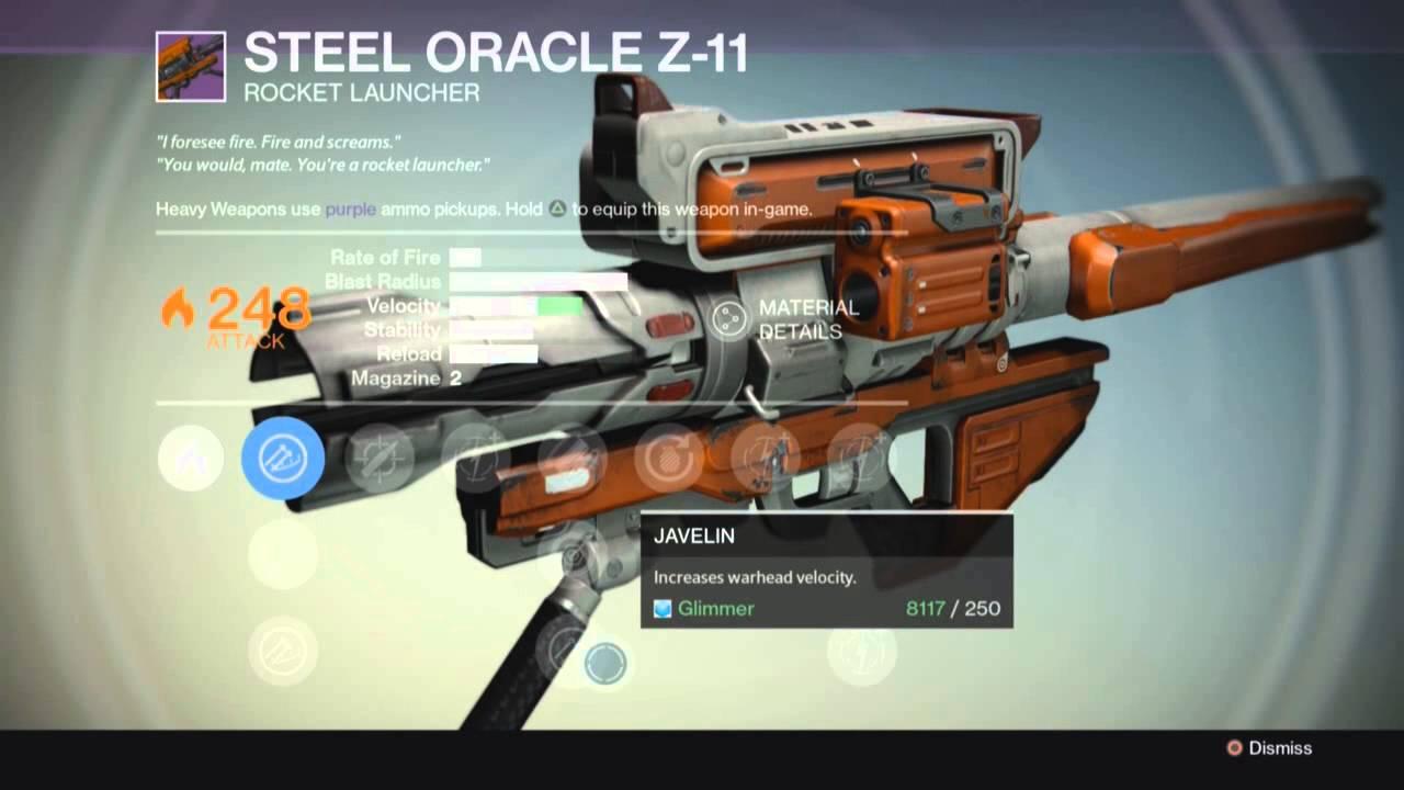Destiny - LEGENDARY: Gun - Steel Oracle Z-11 - Rocket ...