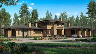 Строительство домов из кирпича | Проект дома в стиле райта из кирпича 2 этажа - 4 спальни