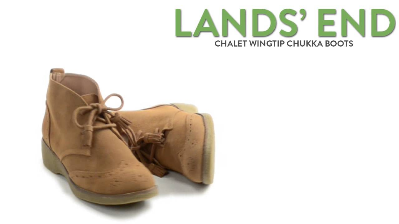 Lands' End Chalet Wingtip Chukka Boots - Suede (For Women) - YouTube