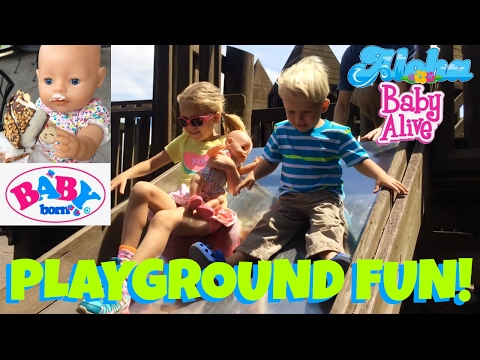 🌈Baby Born Having Fun at Playground with Skye & Caden! ☀️ All Get Sweet Treat at the End! 🍭