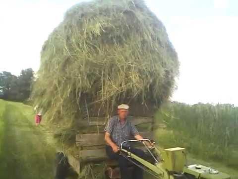 перевозка сена мотоблоком Витязь