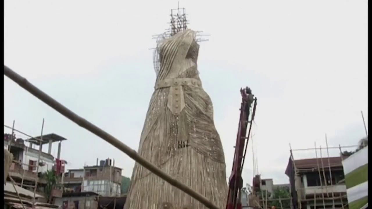100 feet tall indian goddess statue made of bamboo youtube 100 feet tall indian goddess statue made of bamboo buycottarizona Image collections
