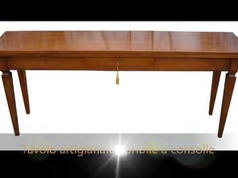 Tavolo tavoli classici artigianali in legno apribili - Tavoli allungabili a libro ...