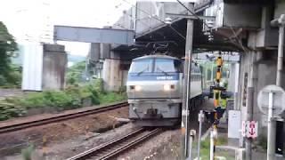 2019/07/13 JR貨物 阪下踏切から離合免れた2本の貨物列車