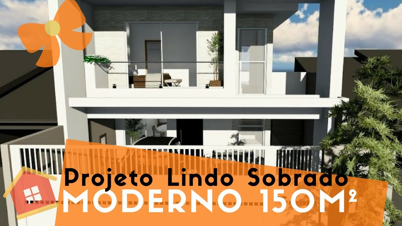Projeto 3d casa assobradada 8mx25m youtube for Casas modernas de 80 metros