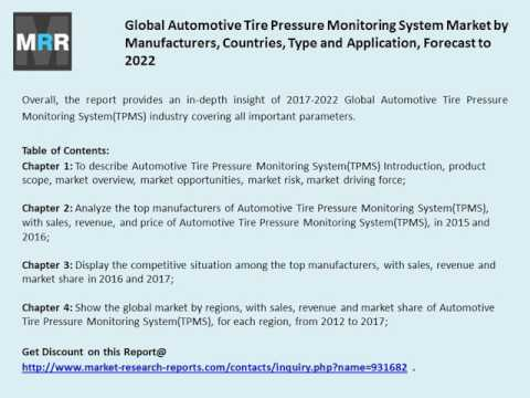 Automotive Tire Pressure Monitoring System Market Analysis 2017 and Forecasts to 2022.