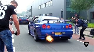 Awesome Nissan Skyline R34 GT-R V-Spec II BACKFIRE, REVS & Acceleration Sounds!