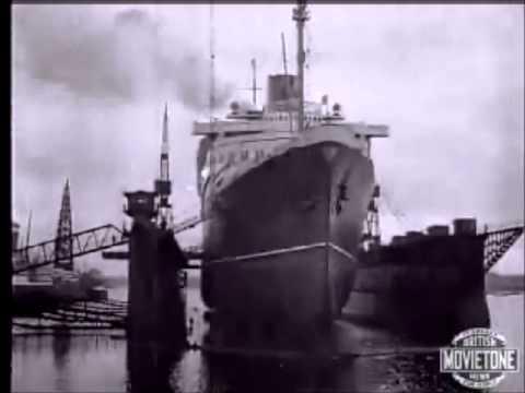 ss Bremen at Southampton Drydock - North German Lloyd - Original footage