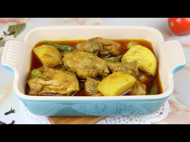 স্পেশাল মশলায় আলু দিয়ে মুরগির ঝোল | Bengali Chicken Curry/Jhol | Potato Curry with Chicken