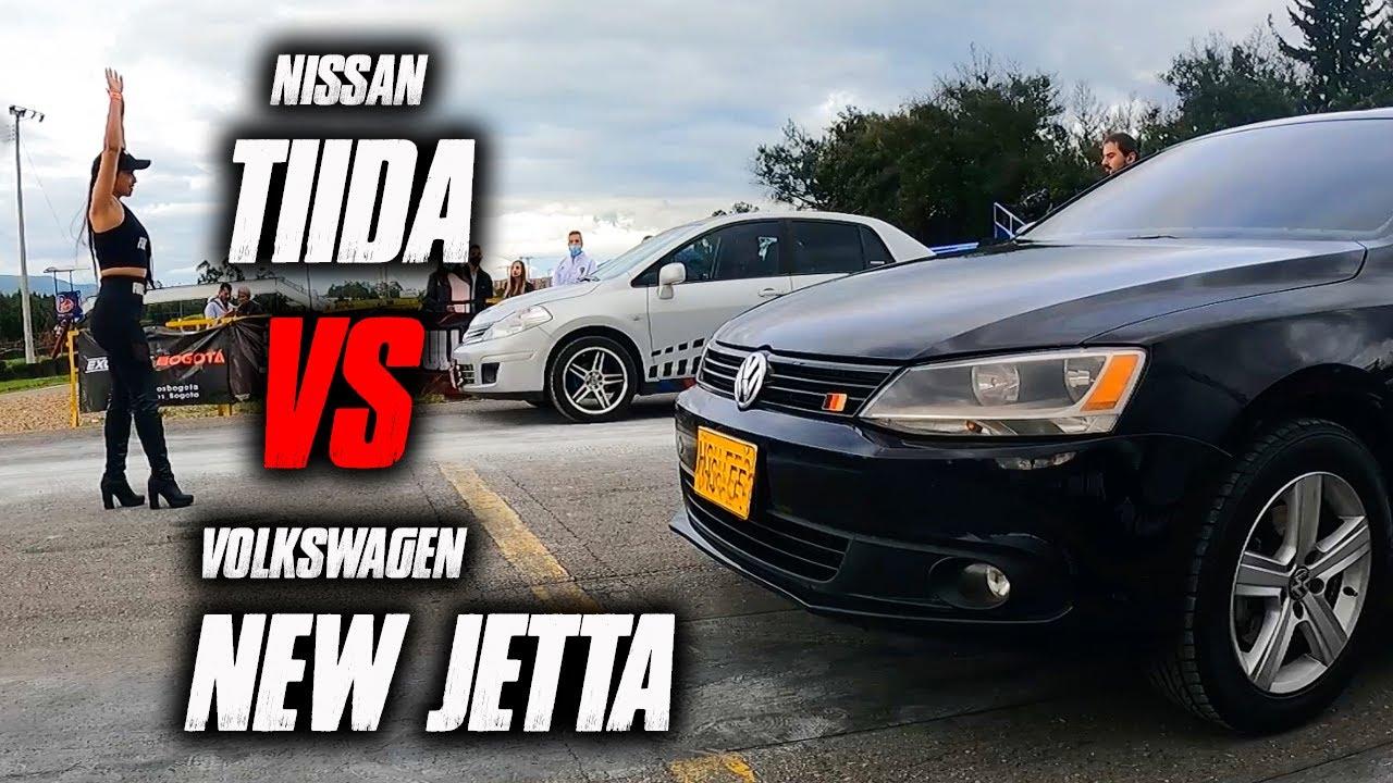 Nissan Tiida VS  New Jetta !! lo PUSO a VER placa!!