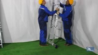 видео Алюминиевая односекционная приставная лестница