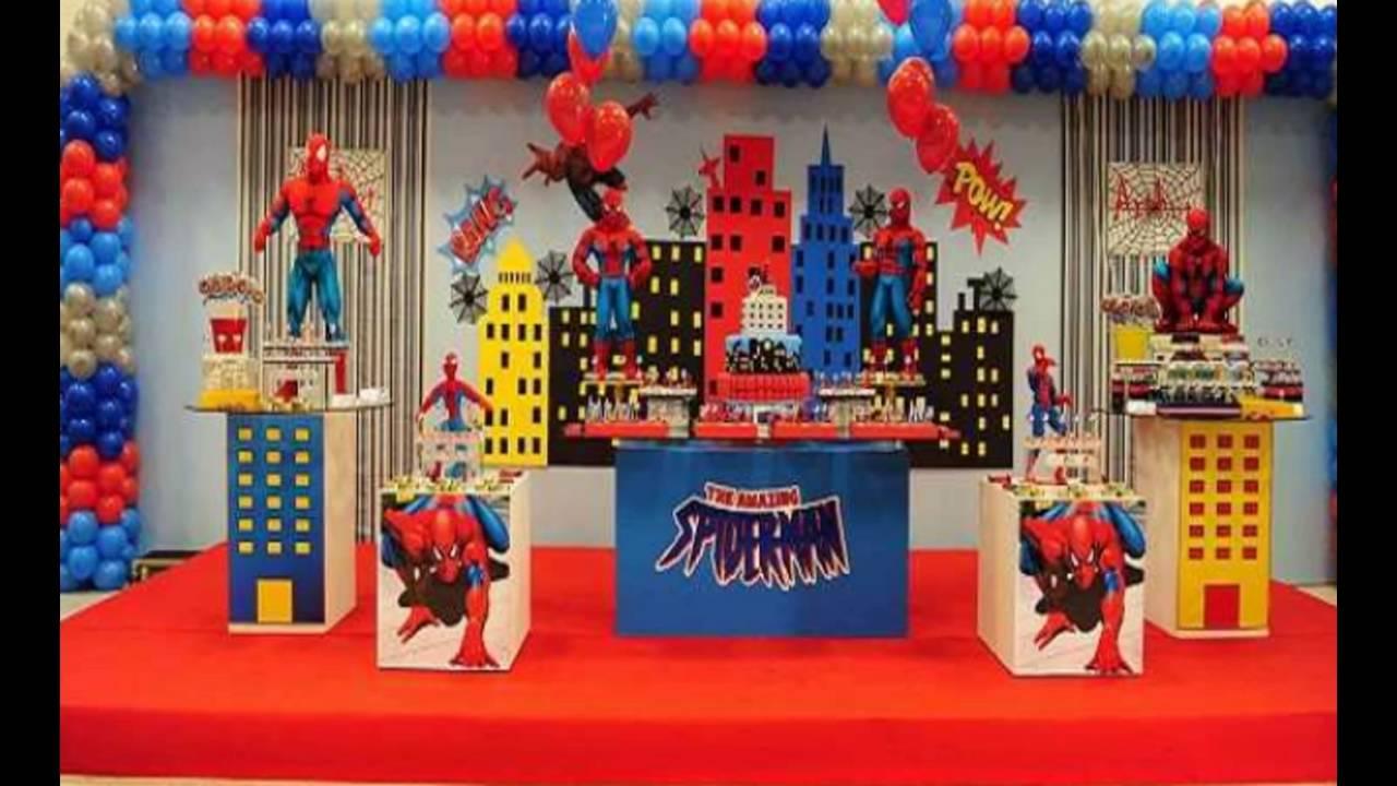 Homem Aranha ! Faça voc u00ea mesmo Ideias Decoraç u00e3o Aniversário do seu Filho YouTube -> Decoração De Festa Simples Homem Aranha