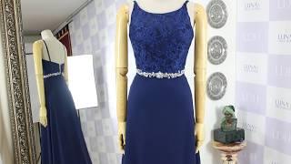 네이비 시폰 레이스 에이라인 보트넥 이브닝 드레스 21…