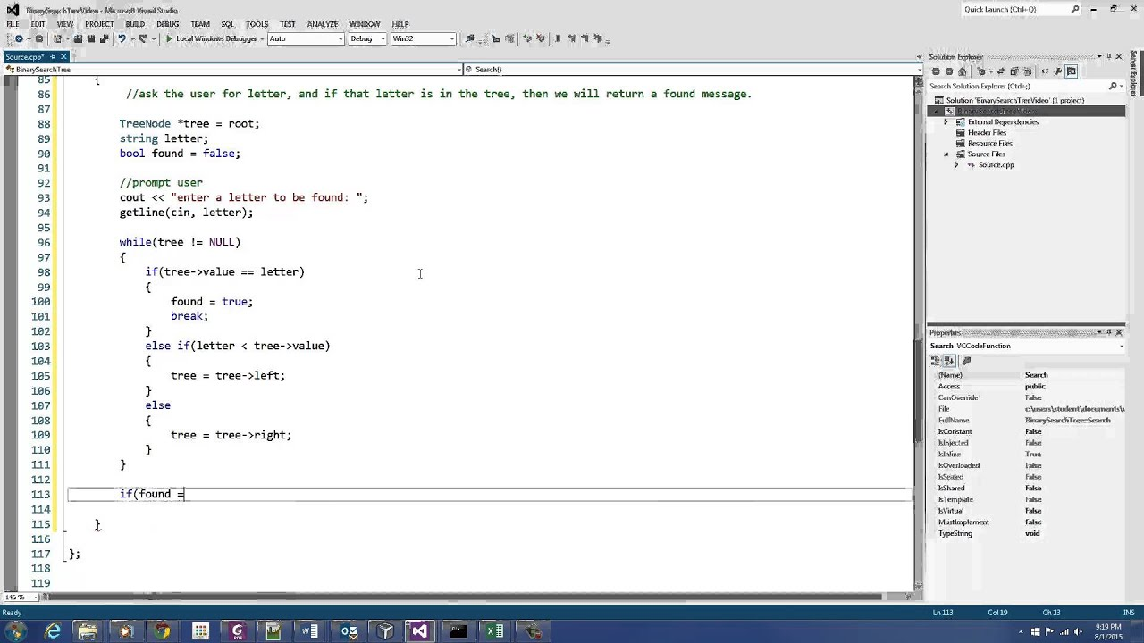 C++ Programming: Binary Search Tree (Search Function)