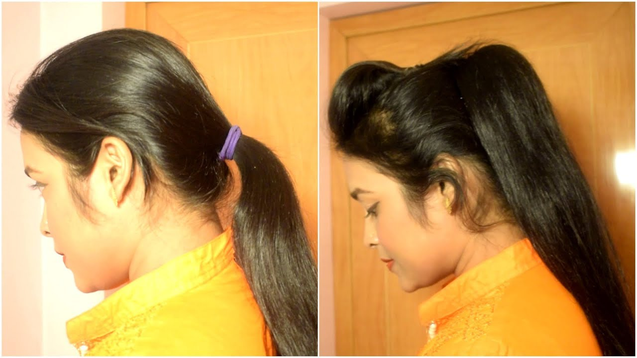 1 min volumized high ponytail with puff - YouTube