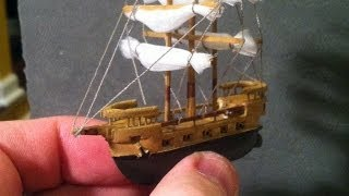 The 2inch Long Galleon (time Lapse) Created Out Of Balsa Wood - No Plans