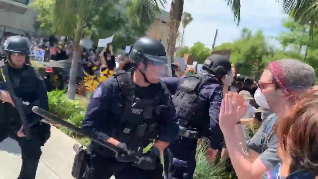 LAPD officer seen hitting protesters with baton during confrontation