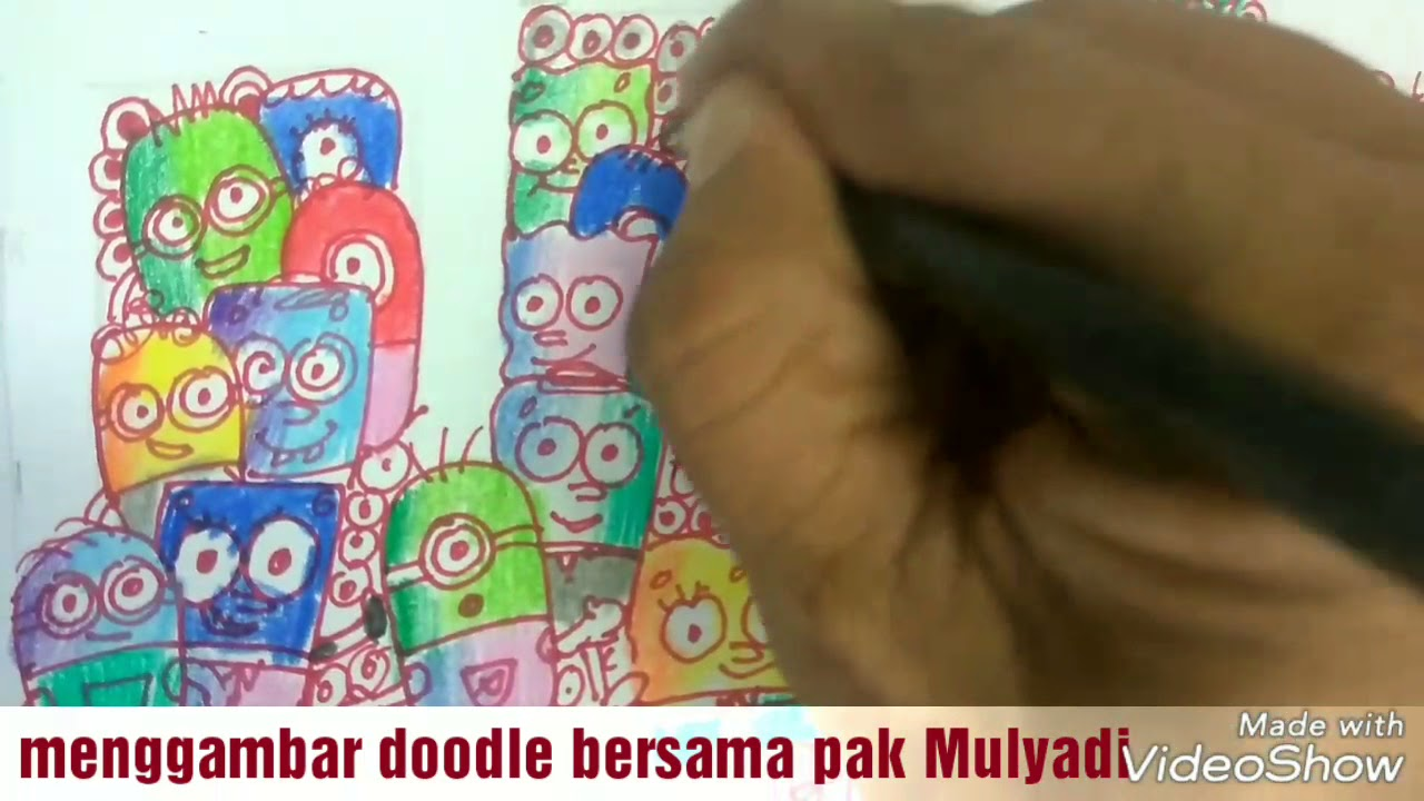 Cara Menggambar Dan Mewarnai Doodle Minion Dan Sponge Bob Youtube