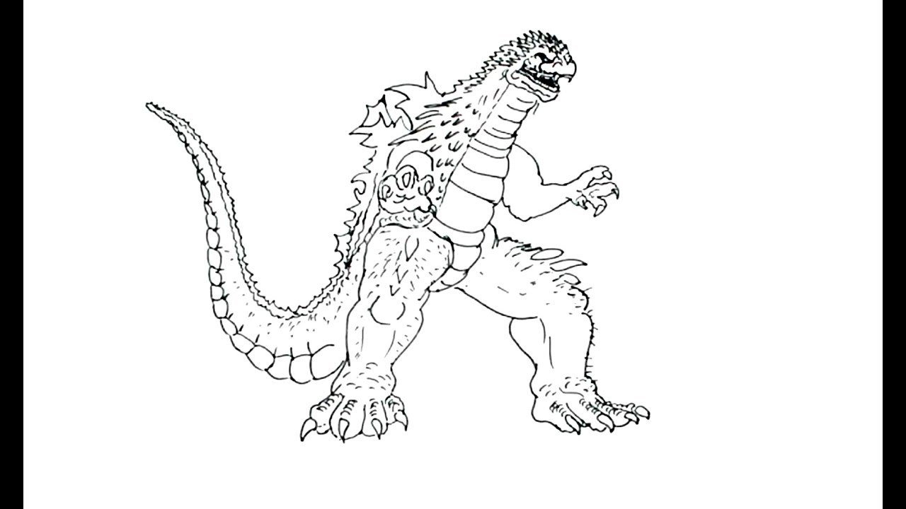 Draw Godzilla Black And White