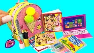 DIY Miniature BARBIE School Supplies : Ice Cream Backpack, Crayola markers, Pink laptop