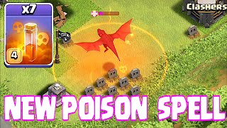 Clash Of Clans - NEW POISON SPELL x11 VS 1 DRAGON ( NEW UPDATE!!)