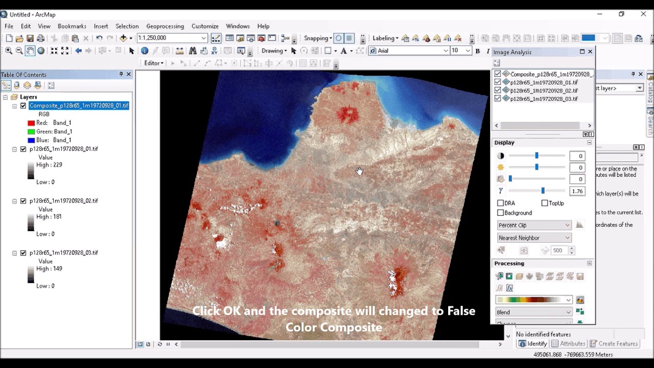 How to convert False Color Composite to Natural Color Composite in ArcGIS