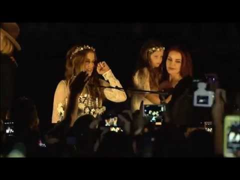 Lisa Marie Presley and Presley family attends the Candlelight Vigil 2015 at Graceland