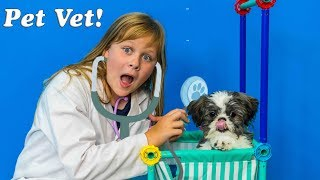 Pet Vet Pretend Play Check Up for Funny Puppy Waggles and Wiggles with the Assistant