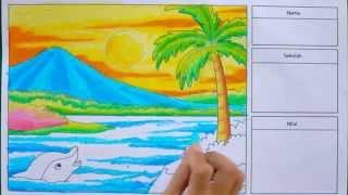 Cara Cepat Mewarnai Pemandangan Alam dengan Krayon (Oil Pastel)